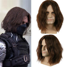 Captain America: Civil War Winter Soldier Bucky Barnes Cosplay Fluffy Wigs Brown