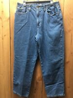 Women's LL Bean flannel lined jeans Size 16 Original Fit/Relaxed Blue plaid