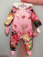 Baby Girls Designer Ted Baker Pink Floral Emily Rose Snowsuit & Mits 6-9m🐿