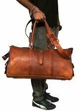 Men's Genuine Leather Travel Duffel Vintage Triangle Shape Luggage Overnight Bag
