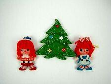 Raggedy Ann Andy Vintage Christmas Ornaments Pair Flocked Yarn Hair Red Blue