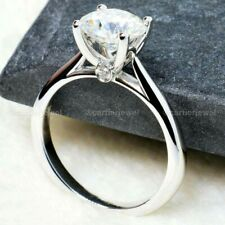 2.00Ct Moissanite Engagement Ring Solid 14K White Gold Excellent Round Solitaire