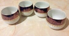 Seyei Fine China Japan Set 4 Cups Mugs/Sake Cups Floral Amethyst Gold Design