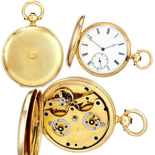 RARE ANTIQUE 18K GOLD 2-TRAIN 8-DAY POCKET WATCH C1860S BY ROBERT GERTH & CO.