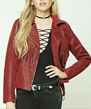Cowgirl Chic Gypsy FRINGE Faux Leather Moto JACKET Biker Western LARGE