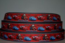 """1 yd 7/8"""" Grosgrain Ribbon Cartoons Cars Check Checkered Flags Printed on Red."""