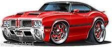 1970 71 72 Oldsmobile Cutlass 442 Turbo Fire Cartoon Car Wall Decal Vinyl decor