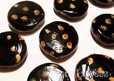 100pc Large Lampwork Glass Flat Round Beads Dark Brown 20mm (L020) BULK