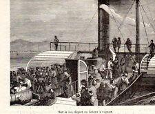 LAC LEMAN DEPART EN BATEAU A VAPEUR STEAM BOAT DEPARTURE IMAGE 1880 PRINT