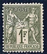 FRANCE 1876 1 FRANC BRONZE GREEN SC.#76 Type I  mnh NORMAL GUM CV $1700