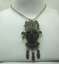 Vintage Large Heavy Mexican Silver And Malachite Carved Tribal Head Pendant