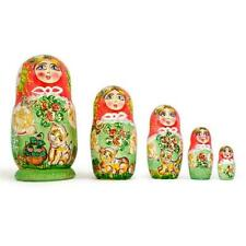 Set of 5 Girls with Cats Wooden Russian Nesting Dolls 6.5 Inches