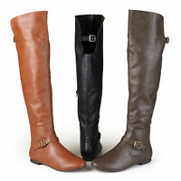 Brinley Co Womens Buckle Tall Over the Knee Round Toe Riding Boots New