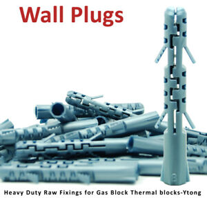 10 Wall Plugs Heavy Duty Raw Fixings For Gas Block Thermal Blocks Ytong 8 mm NEW