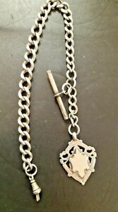 Antique Silver Albert Watch Chain with Fob by W H Haseler Ltd 1919 45 g & 22 cm