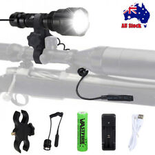 Tactical 5000Lm XM-T6 LED USB Flashlight Hunting Light Rifle Mount+Remote Switch