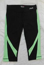 FILA SPORT Womens Black w/Green Colorblock Performance Running Capri Leggings S