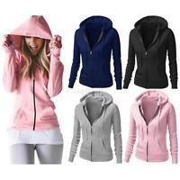 New Women Ladies Long Sleeve Zip Hooded Sweatshirt Hoodie Coat Jacket Outerwear