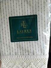 Ralph Lauren Cold Spring Pinstripe Cream w/black stripe King Pillowcases (2) NEW
