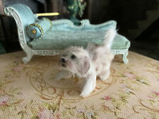 Vintage Miniature Dollhouse Artisan Animal Pet Shaggy White Clay Wool Small Dog