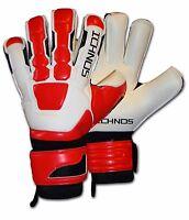 ICHNOS NEGATIVE CUT FOOTBALL FINGERSAVE WHITE RED GOALKEEPER GLOVES ADULT SIZE 9