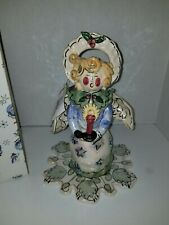 "Blue Sky Clayworks Heather Goldminc Signed Christmas Angel Tea Light 9""tall NEW!"