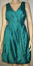 MONSOON Jade Green V Front And Back Bubble Hem Sleeveless Party Dress Size 12