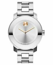 New Movado Bold 3600084 Rose Crystal Dot Silver Tone Bracelet Women's Watch
