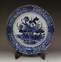 Fine Chinese Antique Blue and White Porcelain Lotus Plate