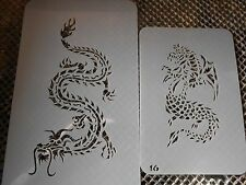 Airbrush Temporary Tattoos Stencil Set #29 2 Dragons New Island Tribal!