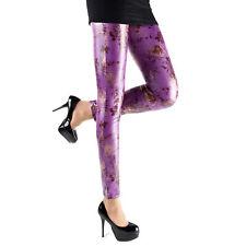 Rubberfashion Glanz Leggings, glänzende Leggin Blumenmuster metallic Hüfte