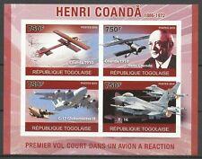Togo Pionnier Aviation Henri Coanda Planes Flugzeug Non Denteles Imperf ** 2010