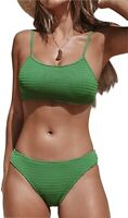 CUPSHE Women's Green Smocking 2Pc Bikini Swimsuit Ruched Thong Bathing Suit - XL