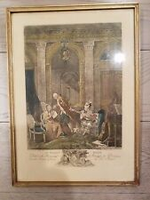 ANTIQUE 1820'S FRAMED FRENCH ENGRAVING PRINT HAND COLORED LE BILLET DOUX EUC