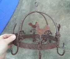 Antique primative wrought iron game rack kitchen  dryed herbs pots roosters