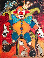 King Clown Zirkus 90 x 70 cm 1977 Gemälde Felix Pfefferkorn WVZ X-14 publiziert