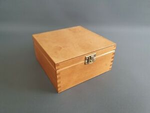 Pine Wood GOLD Handmade Tea Bags 4 Removable Dividers Storage Box Wooden Chest