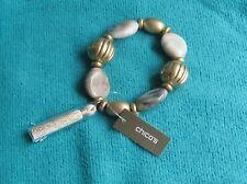 """Chicos Goldtone """"Sloane Stretch"""" Creme Color Bead/Beige Tassle Bracelet"""