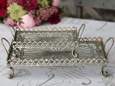 Chic Antique* Glasplatte, Metalltablett eckig klein, antik-silber