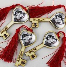 DLM25342 Chiave Portafortuna in Legno con Madonna e Bambino Rosso (kit 12 pezzi)
