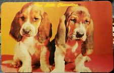 1960's Two Cute BASSET HOUND DOGS PUPPIES PUPS Vintage Unused Postcard