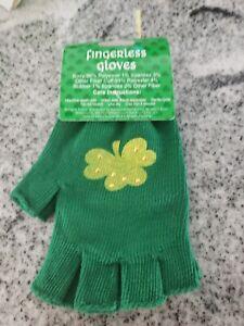 St. Patrick's Day Irish Fingerless Gloves shamrock bling