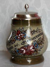Geschenk zum 40. Geburtstag Getränkekrug m. Blumenmuster u. Zinndeckel - 50%!