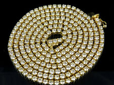 """Men's 14k Yellow Gold 4 Prong 1 Row Genuine Diamond Chain Necklace 22.65 Ct 32"""""""