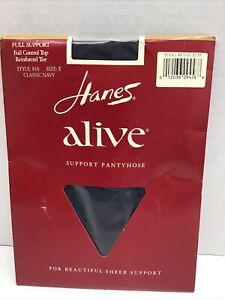HANES ALIVE FULL SUPPORT SHEER PANTYHOSE SIZE E 810 Classic Navy