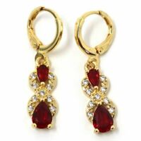 Antique Red Ruby Dangle Earrings Nickel Free Jewelry Gift 14K Yellow Gold Plated