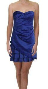 CALVIN KLEIN Blue Satin Strapless Tiered Cocktail Dress Women Size 12