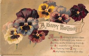 1913 Winsch Birthday Postcard of Colorful Pansies