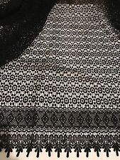 """BLACK  GUIPURE FRENCH VENICE BRIDAL LACE FABRIC 52"""" 1 YARD"""