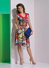 Jerseykleid Stretchkleid mit Kragen  Knielang Ärmellos Mehrfarbig Elegant Gr.L